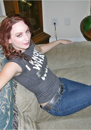 Redhead amateur cutie Katy removes her pants and bends over to spread her ass