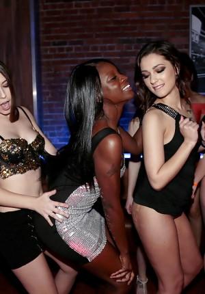 Interracial lesbo fuck session and more in insane pornstar swinger's convention