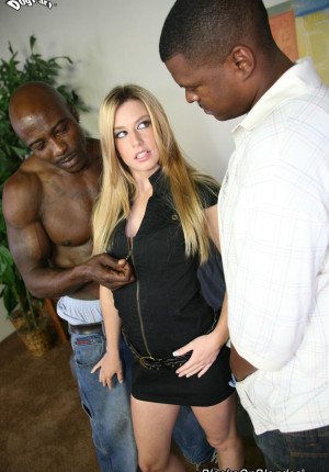 Jessi Volt gets her pretty face sodden in jizz after an interracial DP