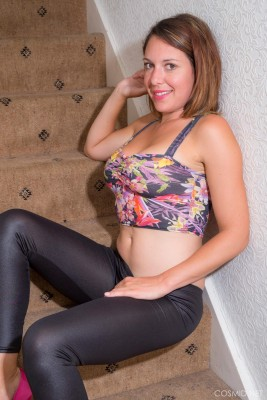 Naughty looking brunette Jody F shows her amazing ass off on the stairs