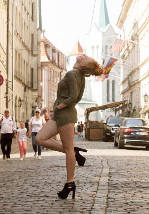 Strawberry blonde babe Helene Trobec teasing in public in Europe