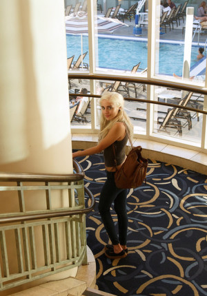 Cute young blonde Khaleesi lookalike Naomi Woods teasing with her hot body in a hotel