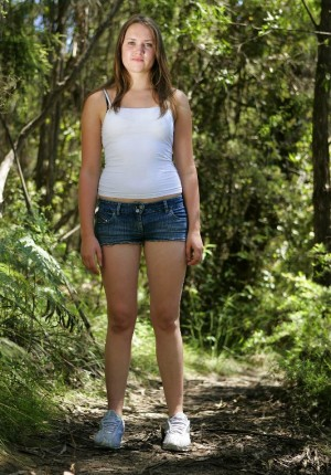 Cute brunette teen girl Lily T from Abby Winters gets nude out on the trail and lets us see her baby fat and puffy nipples