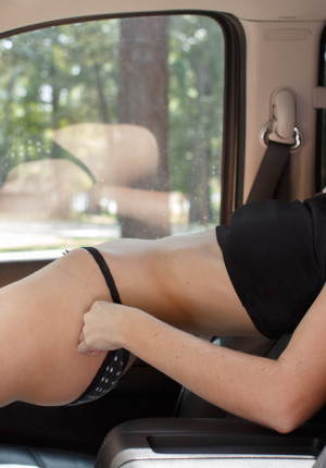 Gorgeous all natural blonde Ellen Kennedy playing in her panties and riding her bike topless