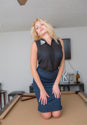Viktoria On The Pool Table