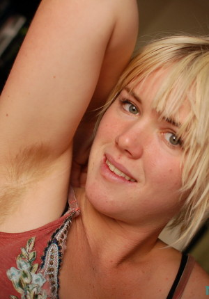 Super cute furry blonde Ana Kisa playing with her pussy and armpit hair