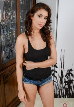 Horny Latina Kitty Catherine spreads her furry dark bush