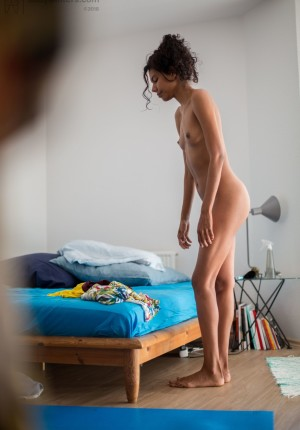 Tall female Adriana E pulls on her panties and dress thru the eyes of a voyeur