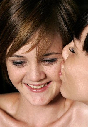 Shy teen lesbians Daphne and Peppe play grab ass
