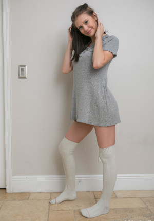 Perfect coed Jamie posing in her sexy thigh high socks
