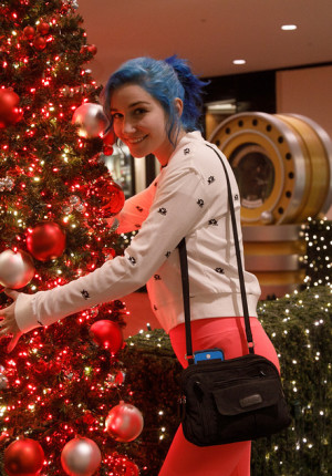 Blue haired amateur Skye Blue teasing in public