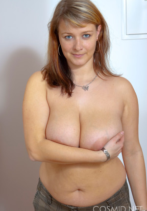 Chubby MILF Jane trying on bras over her huge boobs