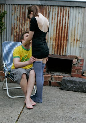 Australian girl Anais rides her guy outside with her thigh high socks on