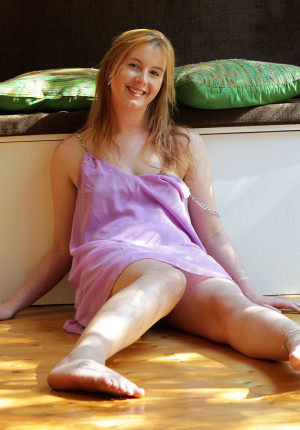 Fair blonde amateur Bree whips out her long dildo and shoves it in her hairy squish