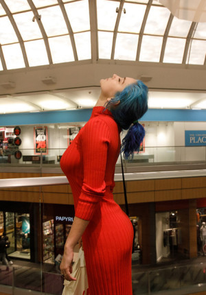 Perky amateur Skye Blue flashing her thong under her dress at the mall