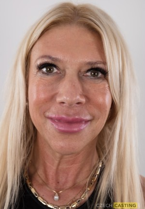 Mature blonde Irena wearing stockings in her Czech Casting shoot