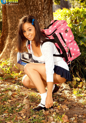 Latina schoolgirl teen Samantha Mendez takes off her panties on the way home