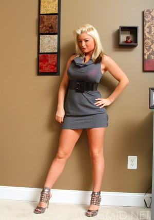 Blonde honey Michele looks bangin in her dress and panties