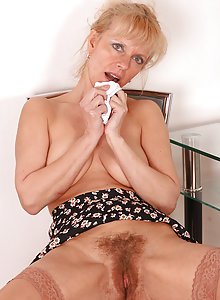 48 year old blonde MILF with a perfect hairy pussy mound
