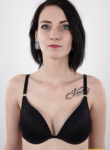 From Czech Casting Anna is a skinny dark haired woman with tattoos trying out