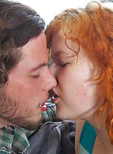 Doughy Aussie redhead girl Jette fucks her boyfriend and lets him cum inside her