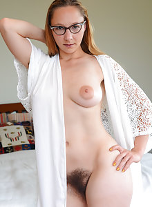 Blonde with big nipples Maggie Mayhem models her hairy pussy