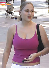 Pics of amateur girl on the street with big tits before she gets naked