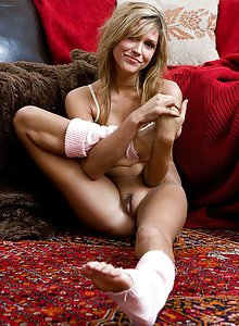 Cute amateur blonde wearing legwarmers shows her great body off