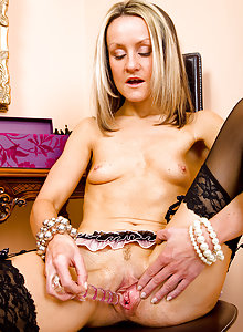 Sexy and elegant MILF Emma shows off her hot black lingerie