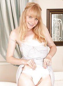Cute furry blonde Heidi takes off her panties