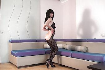 Hairy girl Mary strips in full-body stocking