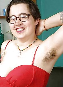 Chubby nerdy hairy girl in glasses Cori showing her tits and body hair