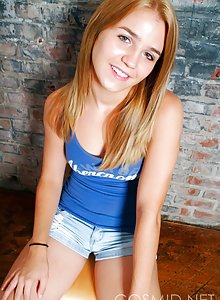 Petite teen Margie is shy and teasing in her first pics