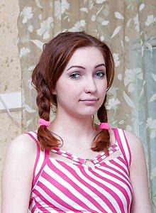 Sabrina and her cute striped pink dress
