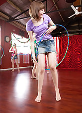 Girls playing with their hula hoops