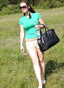 Curvy brunette Tiffany sunbathing nude
