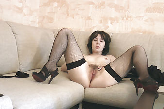 After a long night at a costume party hairy girl Candy S comes home alone, a little lonesome, until she realizes how hot her hairy body is in her stockings and dress and decides to have some solo fun.