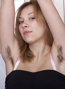 Alisia shows us her hairy pits and furry pussy