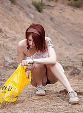 Bree daniels gets caught in her panties outside