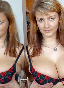 Chubby MILF Jane trying to find a bra big enough for her enormous juggs
