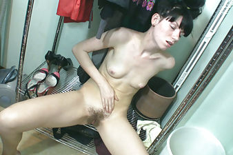 Black haired Bonya pleasures in her closet