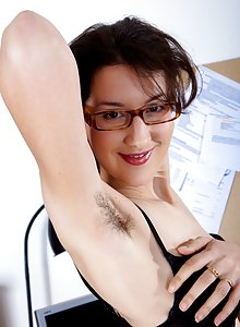 Tiffanny's hairy pussy in the office