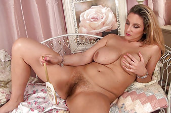 Hairy girl Stella Walton bounces her large breasts