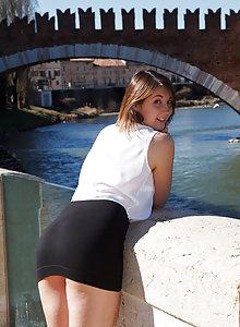 Italian brunette baby doll Carolina Firenze flashing her tits and teasing in public