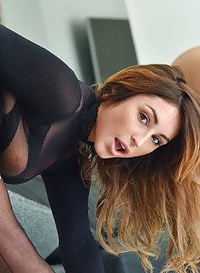 Stunning MILF Christiana masturbating in stockings