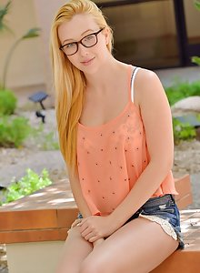 Virginal teen Sammy is hot in her glasses