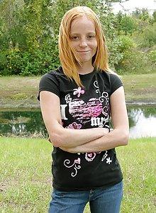 Petite nerdy redhead is horny