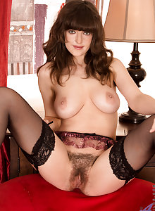 Newcomer milf in stockings plays with her huge natural tits and furry pussy