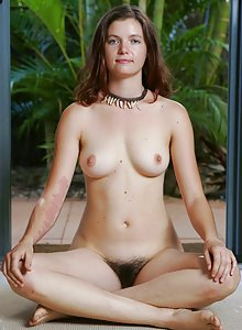 Abby Winters Ruby gets nude and displays her hairy bush