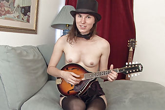 Hairy babe Kiyoko loves playing music in lingerie